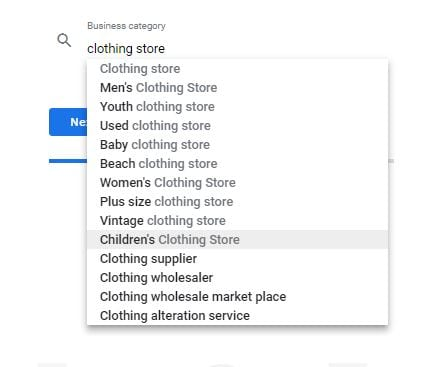 Google My Business Category